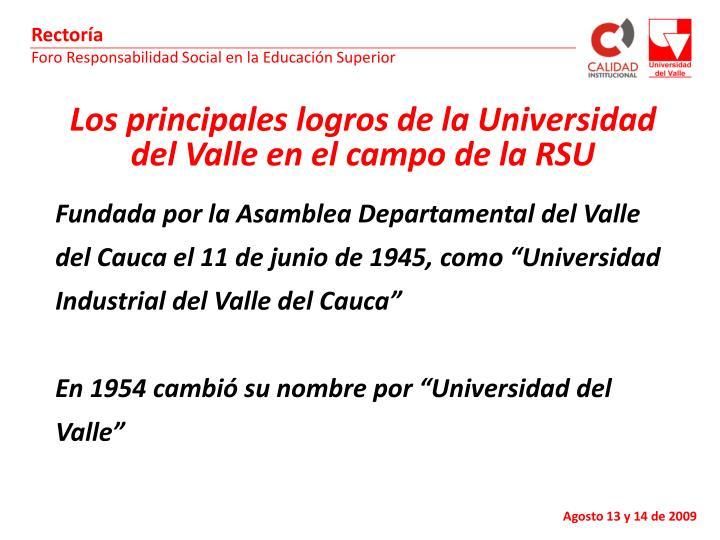 Los principales logros de la Universidad del Valle en el campo de la RSU