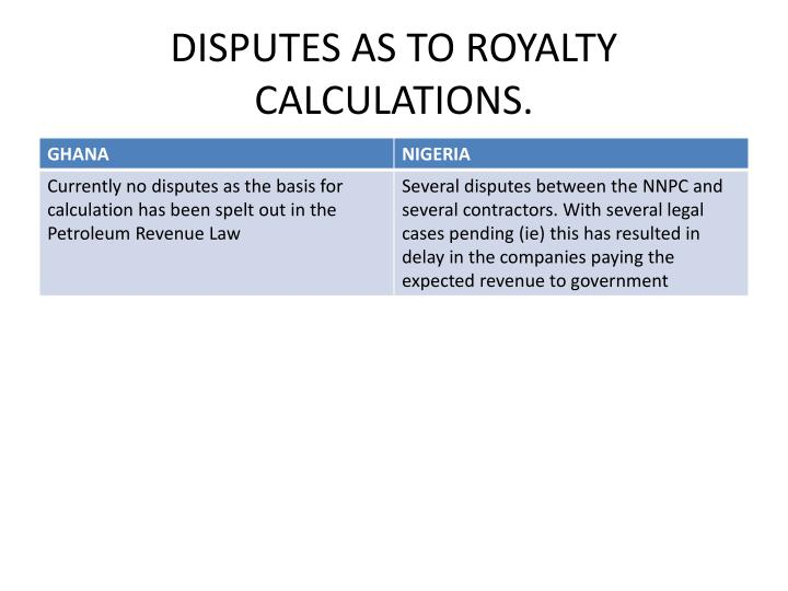 DISPUTES AS TO ROYALTY CALCULATIONS.