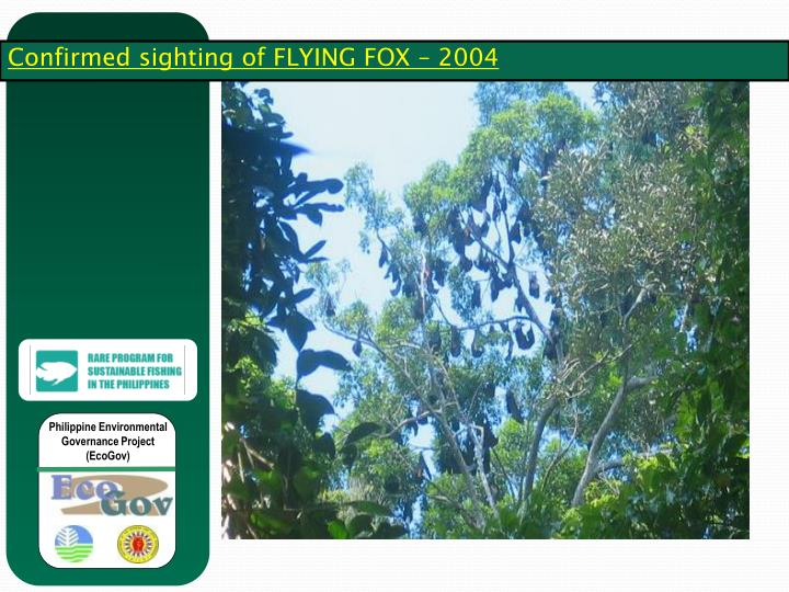 Confirmed sighting of FLYING FOX – 2004