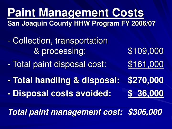 Paint Management Costs