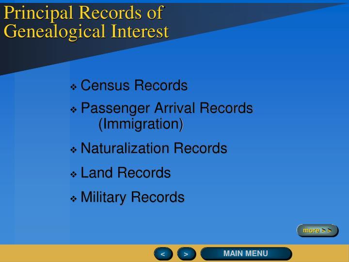 Principal Records of