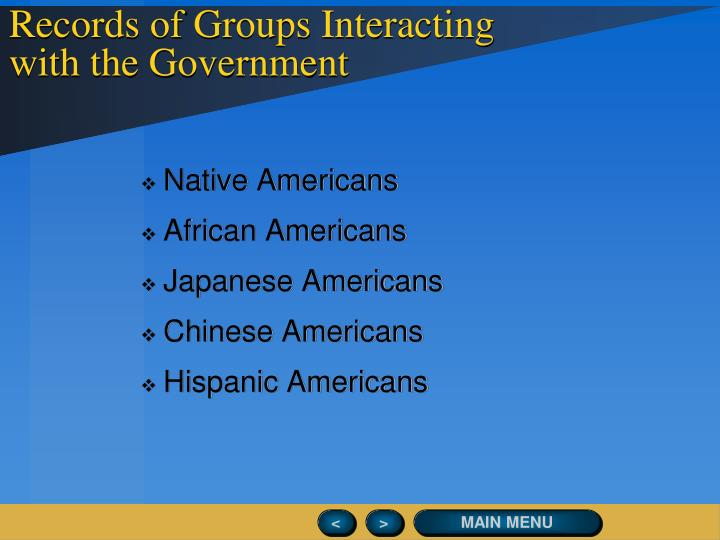 Records of Groups Interacting with the Government