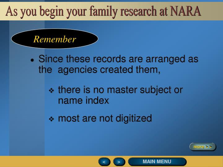 As you begin your family research at NARA