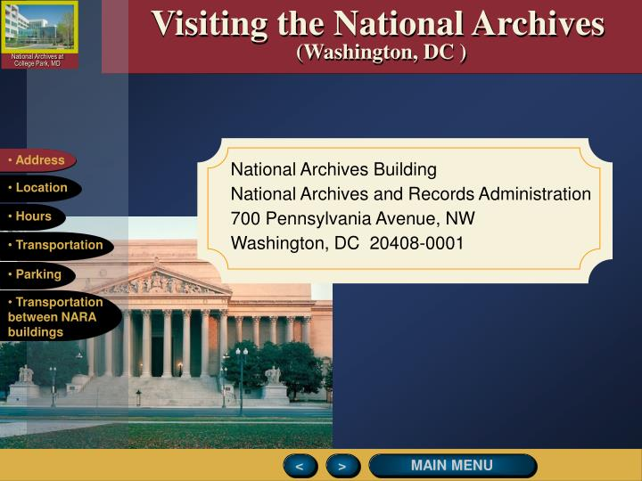 Visiting the National Archives