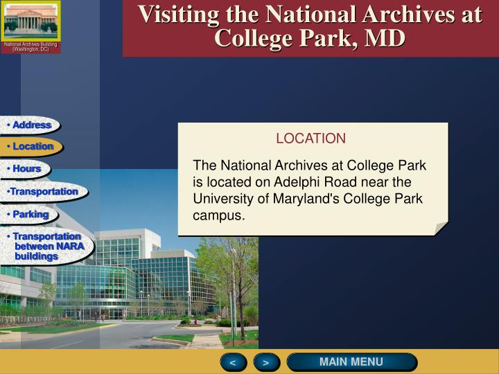 Visiting the National Archives at College Park, MD