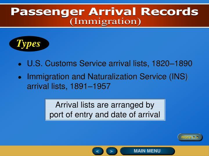 U.S. Customs Service arrival lists, 1820