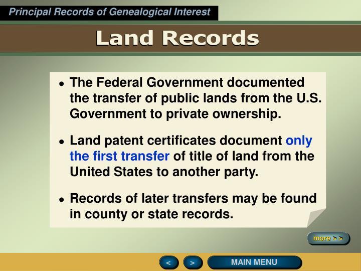 Principal Records of Genealogical Interest