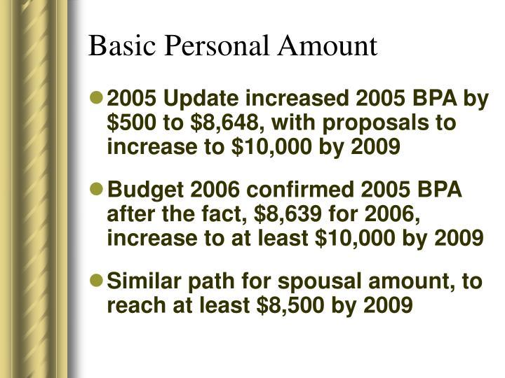 Basic Personal Amount
