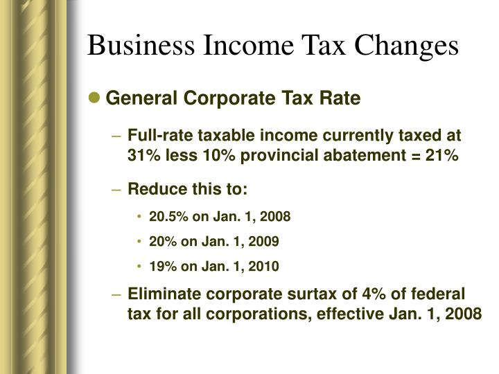 Business Income Tax Changes