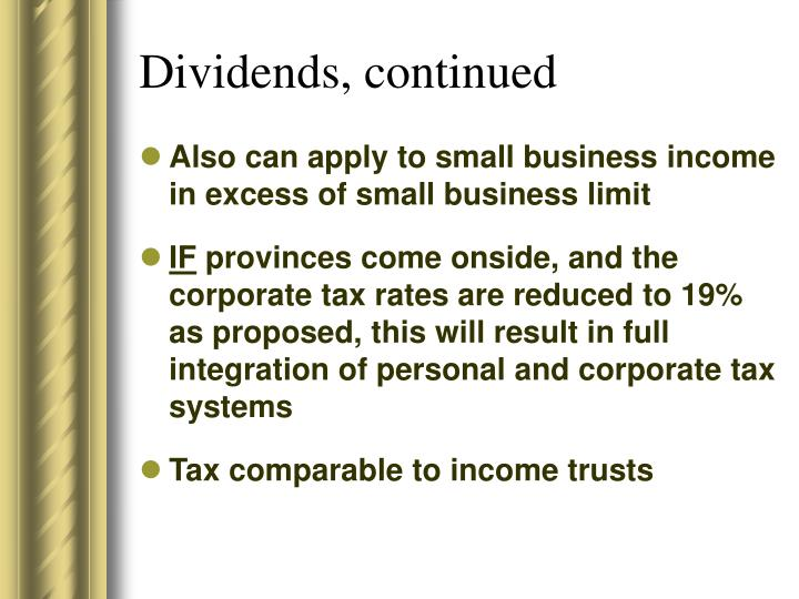 Dividends, continued