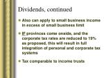 dividends continued