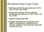 dividends from large corps