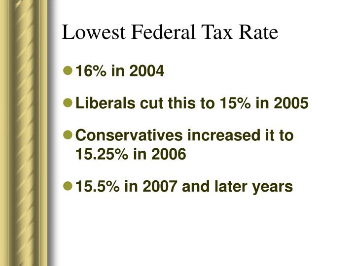 Lowest Federal Tax Rate