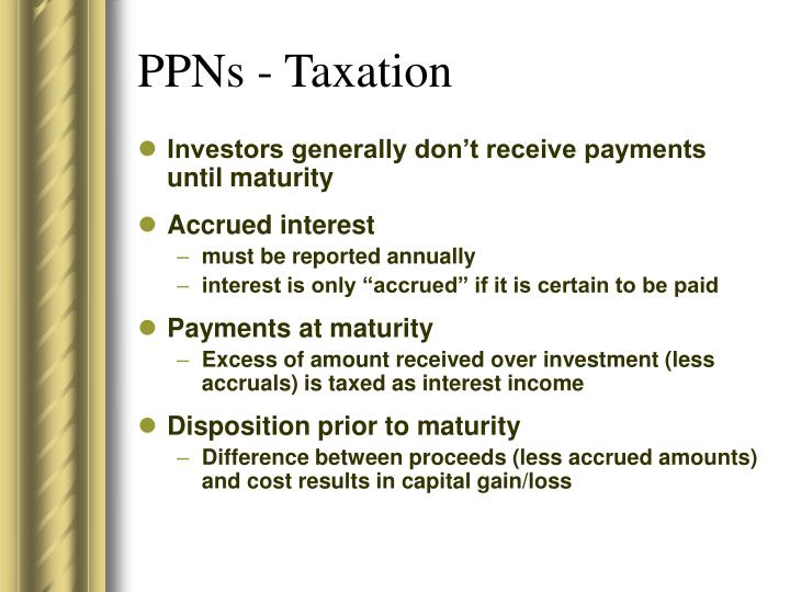 PPNs - Taxation