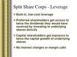 split share corps leverage