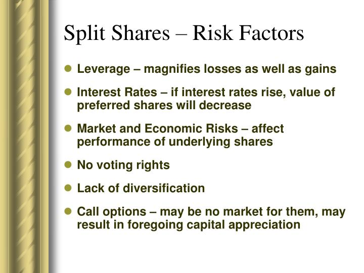 Split Shares – Risk Factors