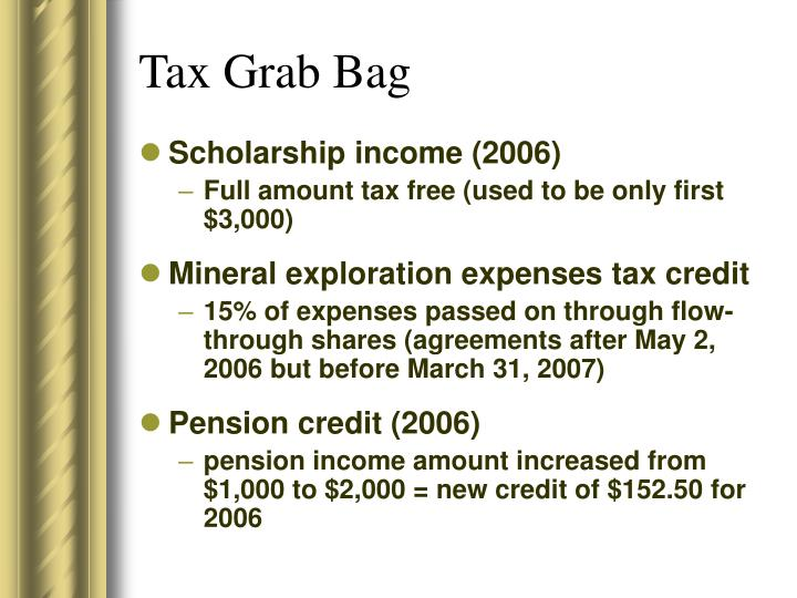 Tax Grab Bag