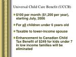 universal child care benefit uccb
