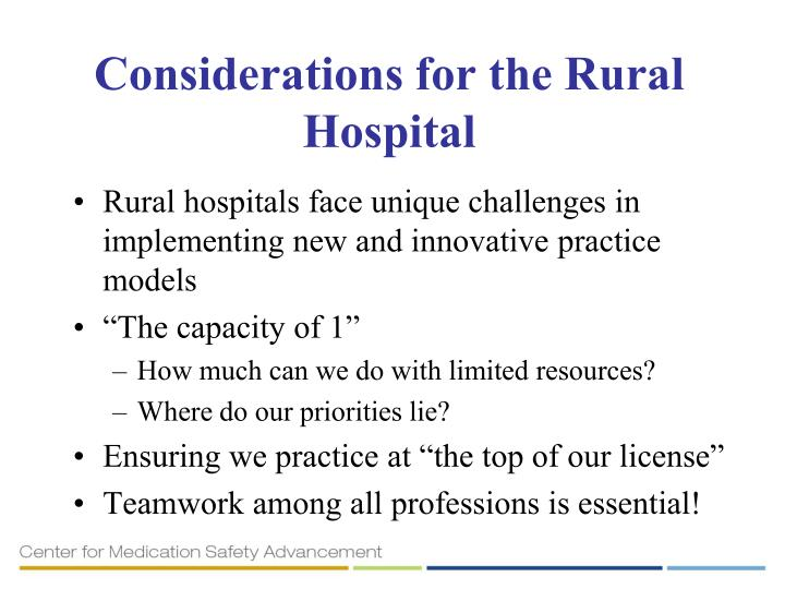 Considerations for the Rural Hospital