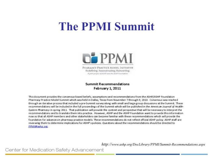 The PPMI Summit