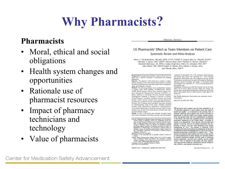 Why Pharmacists