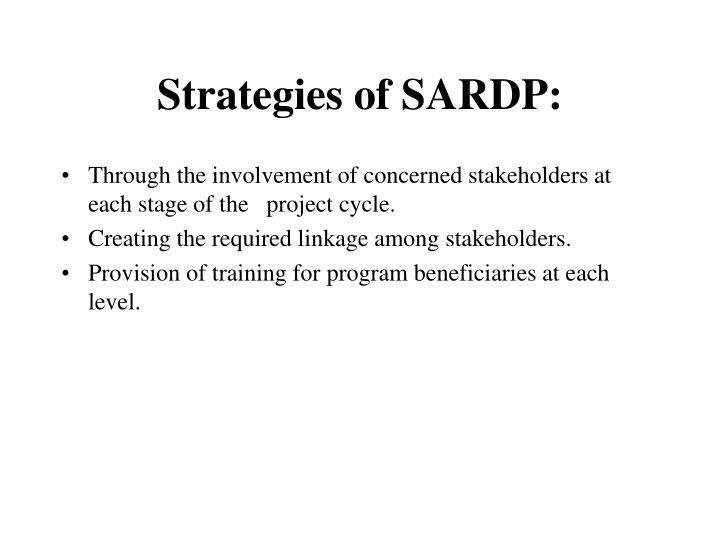 Strategies of sardp