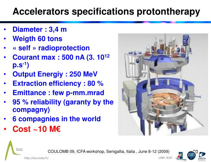 Accelerators specifications protontherapy