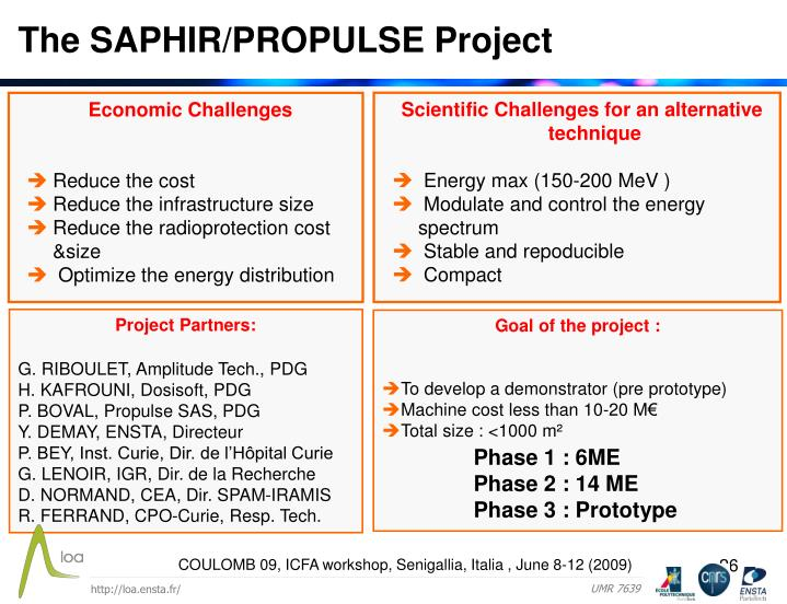The SAPHIR/PROPULSE Project