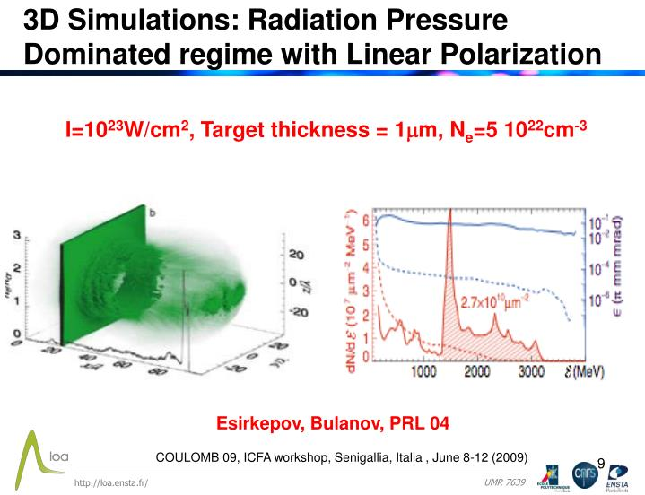 3D Simulations: Radiation Pressure