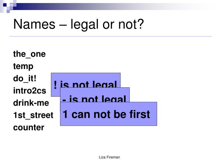 Names legal or not