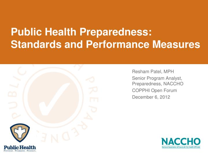 Public health preparedness standards and performance measures