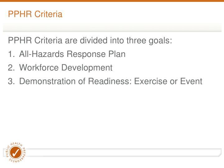 PPHR Criteria