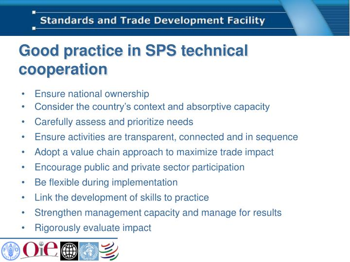 Good practice in SPS technical cooperation
