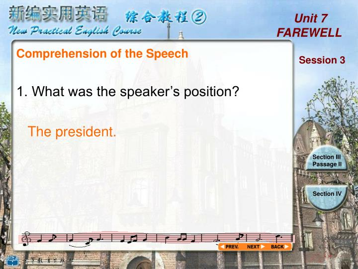 Comprehension of the Speech