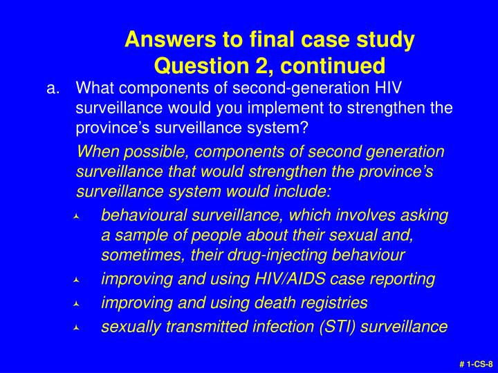 Answers to final case study
