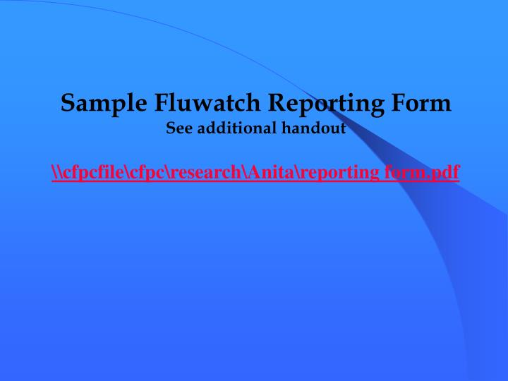 Sample Fluwatch Reporting Form