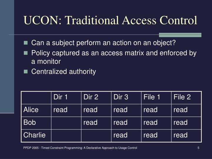 UCON: Traditional Access Control