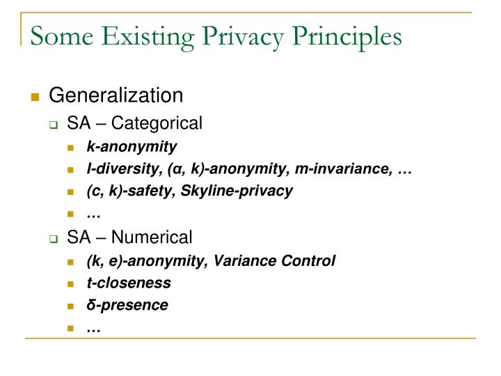 Some Existing Privacy Principles