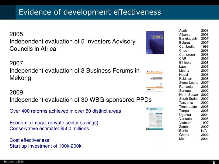 Evidence of development effectiveness