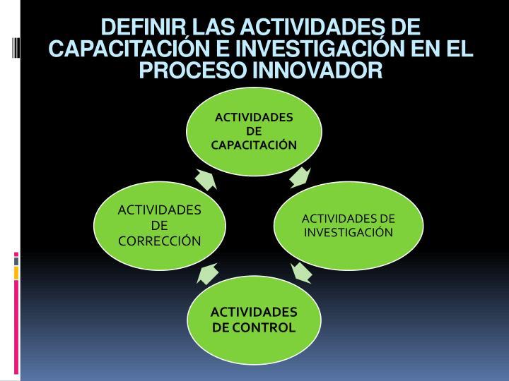 DEFINIR LAS ACTIVIDADES DE CAPACITACIÓN E INVESTIGACIÓN EN EL PROCESO INNOVADOR