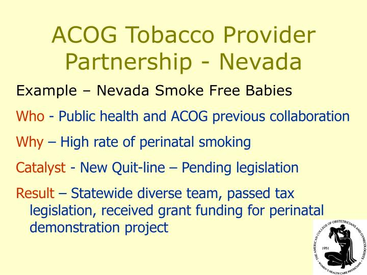 ACOG Tobacco Provider Partnership - Nevada