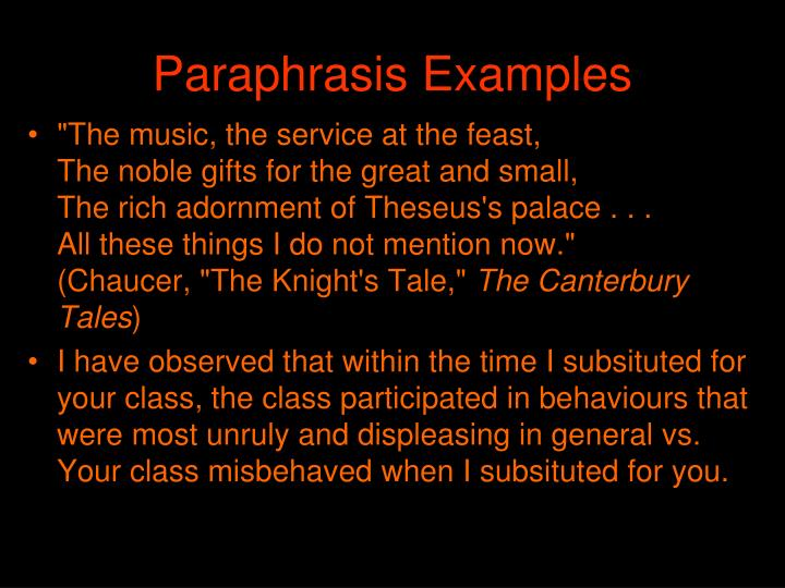 Paraphrasis Examples
