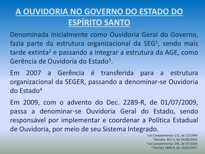 A OUVIDORIA NO GOVERNO DO ESTADO DO ESPÍRITO SANTO