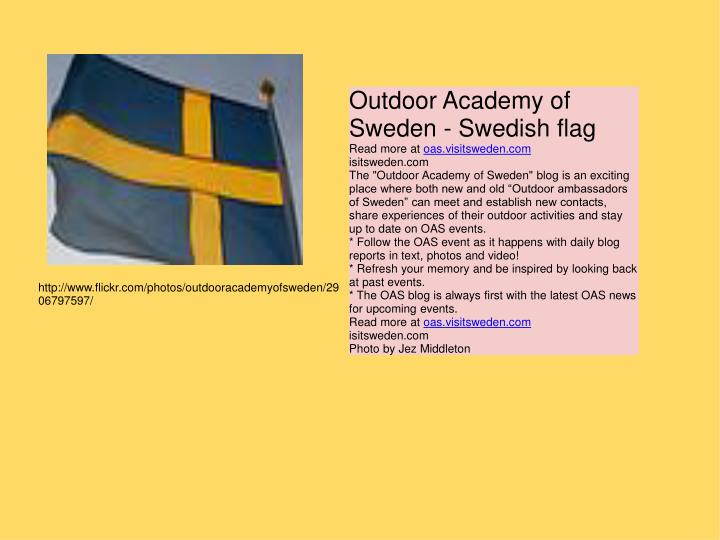 Outdoor Academy of Sweden - Swedish flag
