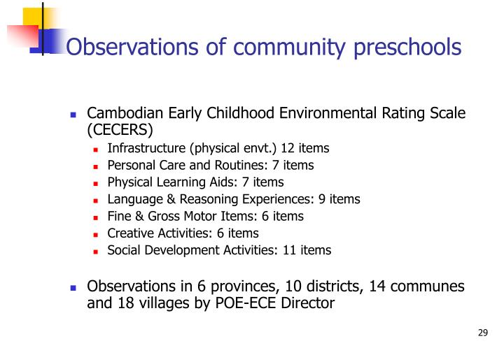 Observations of community preschools