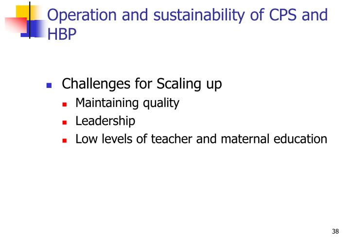 Operation and sustainability of CPS and HBP