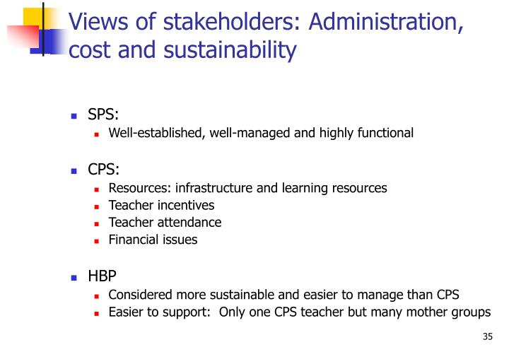 Views of stakeholders: Administration, cost and sustainability