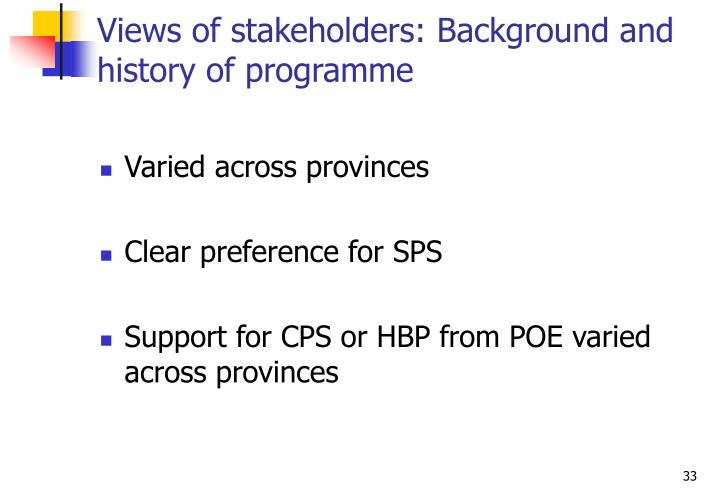 Views of stakeholders: Background and history of programme