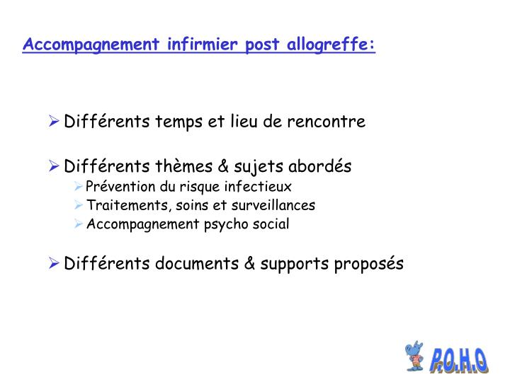Accompagnement infirmier post allogreffe: