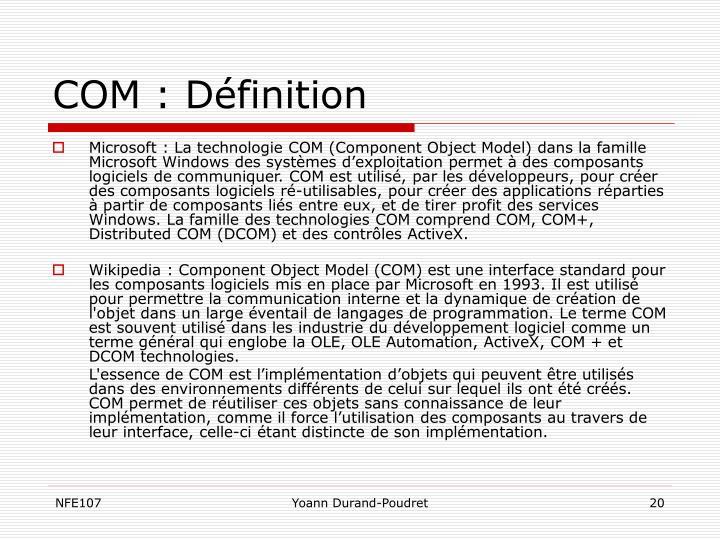 COM : Définition
